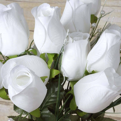 42 Giant Velvet Rose Buds on Long Stems - White( Sold Out until 2017-03-03)