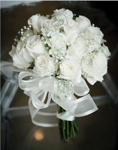 42 Artificial Giant Velvet Rose Buds Wedding Flower Bouquet Centerpiece Decor - White
