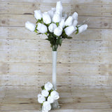 42 Giant Velvet Rose Buds on Long Stems - White