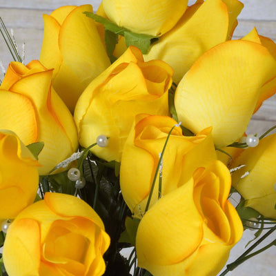42 Giant Velvet Rose Buds on Long Stems - Yellow( Sold Out until 2017-03-03)
