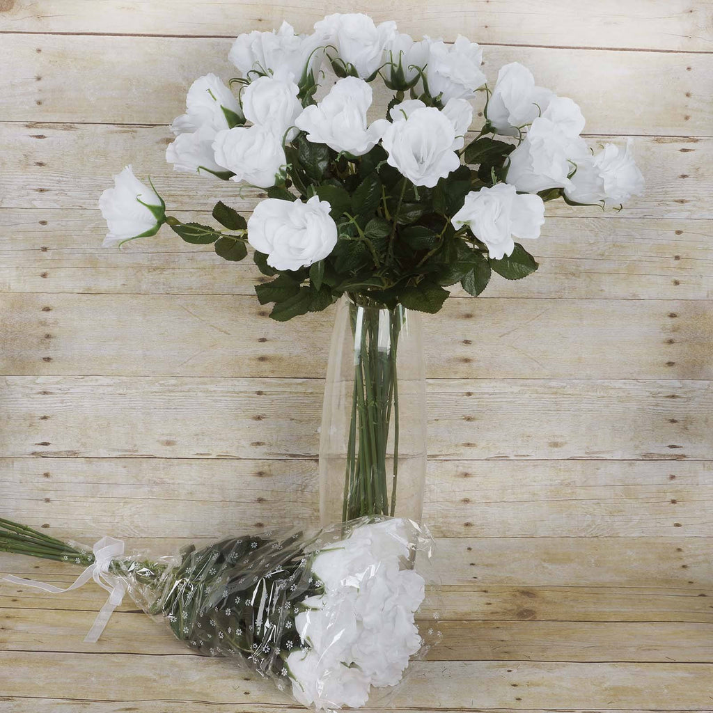 48 Long Stem Rose Bundles - White