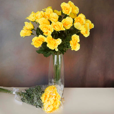 4 Bush 48 Pcs Yellow Artificial Long Stem Rose Flowers