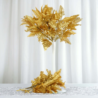 12 Bush 144 pcs Gold Artificial Leather Fern Branches
