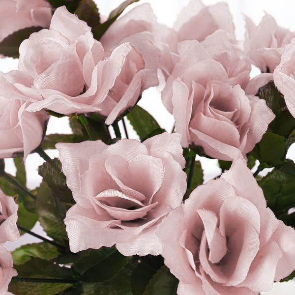 12 Bushes 84 pcs Rose Gold/Blush Artificial Silk Rose Flowers With ...