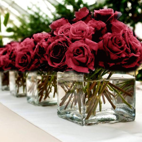 84 Artificial Silk Open Roses - Black/Red