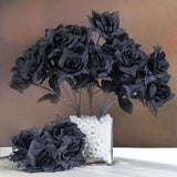Silk Open Rose-Black-84/pk