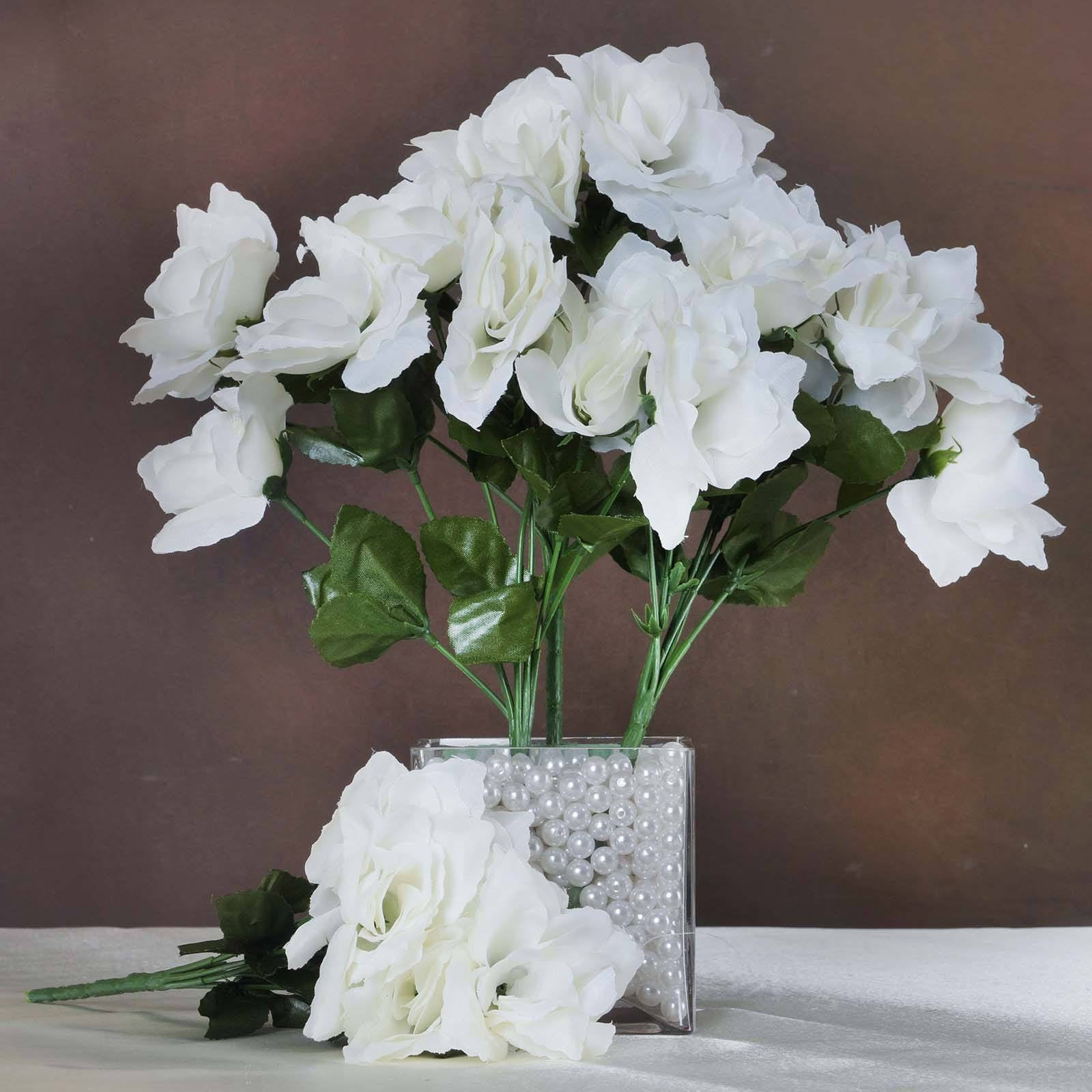 Cream 12 Bushes With 84 Artificial Silk Open Rose Flowers Wedding
