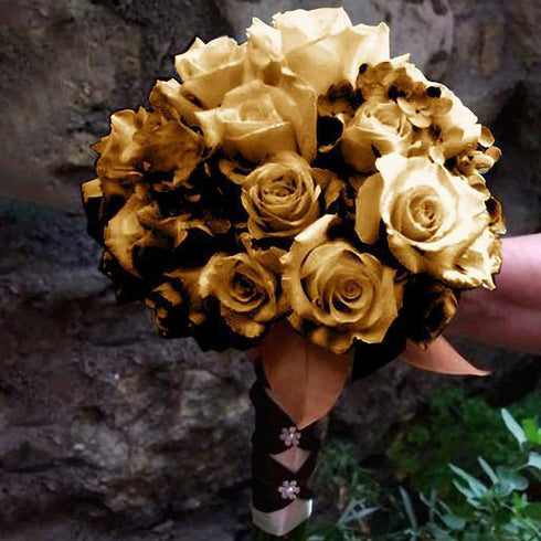 12 Bushes 84 pcs Metallic Gold Artificial Silk Rose Flowers With Green Leaves