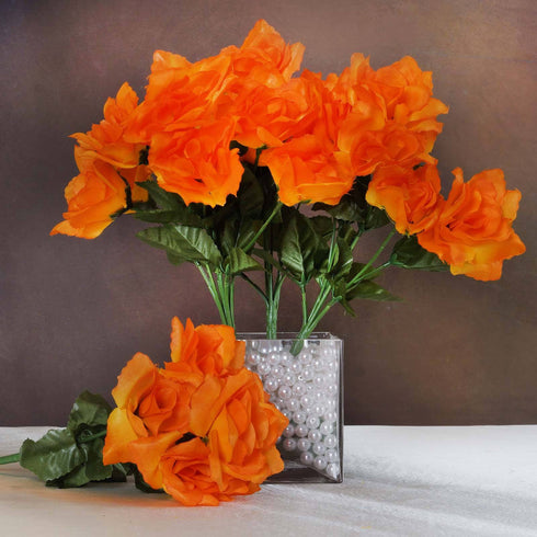 Silk Open Rose-Orange-84/pk