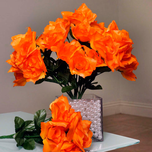 12 Bushes 84 pcs Orange Artificial Silk Rose Flowers With Green Leaves