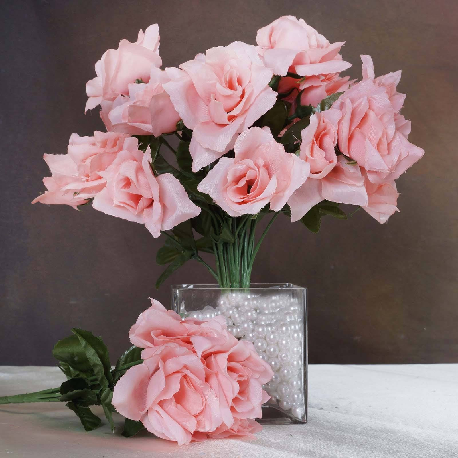 12 Bushes 84 pcs Peach Artificial Silk Rose Flowers With Green ...