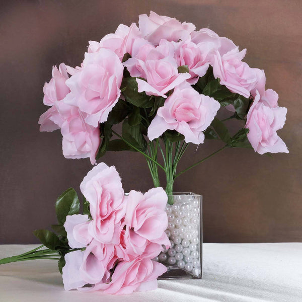 12 Bushes 84 Pcs Pink Artificial Silk Rose Flowers With