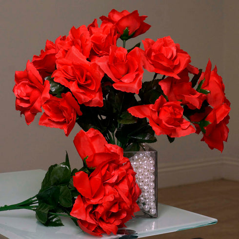 12 Bushes 84 pcs Red Artificial Silk Rose Flowers With Green Leaves