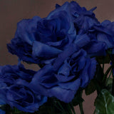 12 Bushes 84 pcs Royal Blue Artificial Silk Rose Flowers With Green Leaves Bridal Bouquet Wedding Decoration