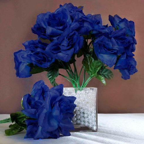 12 Bushes 84 pcs Royal Blue Artificial Silk Rose Flowers With Green Leaves