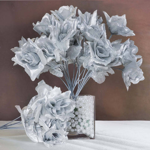 12 bushes 84 pcs silver artificial silk rose flowers with green silk open rose silver 84pk mightylinksfo