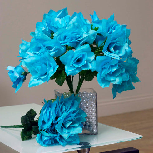 12 Bushes 84 pcs Turquoise Artificial Silk Rose Flowers With Green Leaves