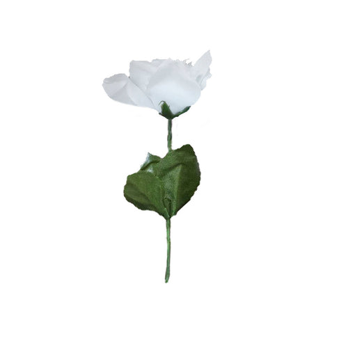 12 Bushes 84 Pcs White Artificial Silk Rose Flowers With Green Leaves Efavormart