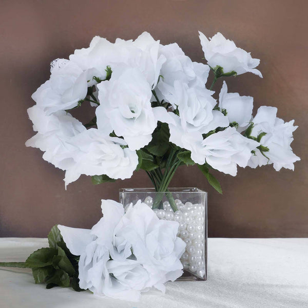 Wedding flowers efavormart white 12 bushes with 84 artificial silk open rose flowers wedding decoration mightylinksfo