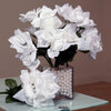 12 Bushes 84 pcs White Artificial Silk Rose Flowers With Green Leaves
