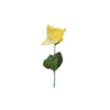 12 Bushes 84 pcs Yellow Artificial Silk Rose Flowers With Green Leaves