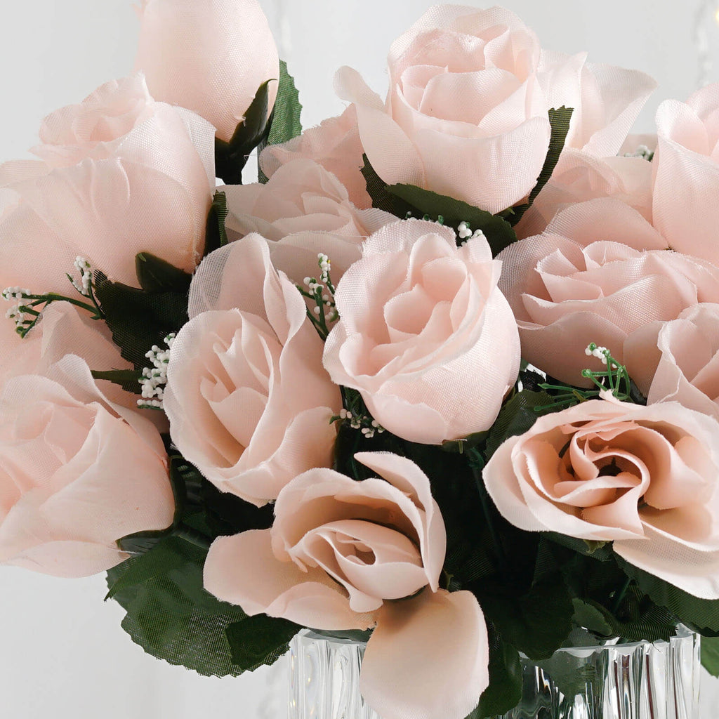 Rose Gold/Blush 12 Bushes with 84 Artificial Rose Flower Buds ...