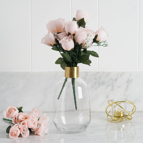 12 Bush Blush | Rose Gold 84 Rose Buds Real Touch Artificial Silk Flowers