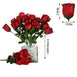 12 Bush Black/Red 84 Rose Buds Real Touch Artificial Silk Flowers