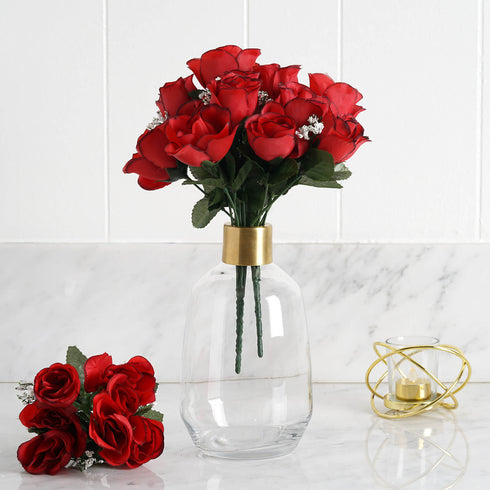 84 Artificial Silk Rose Buds - Black/Red