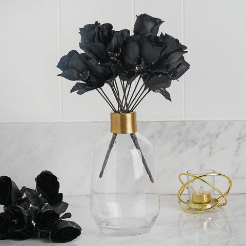 84 Artificial Silk Rose Buds Wedding Flower Bouquet Centerpiece Decor - Black