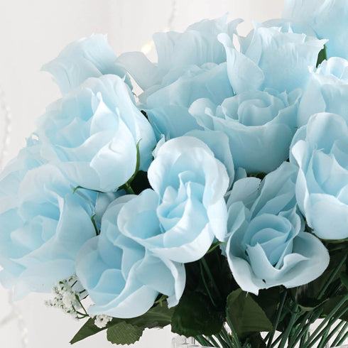 12 Bush Baby Blue 84 Rose Buds Real Touch Artificial Silk Flowers
