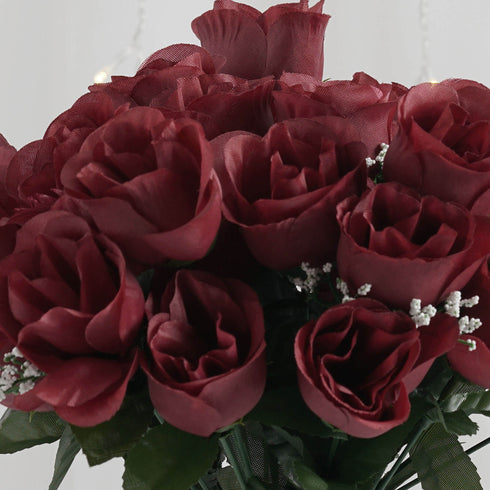 12 Bush Burgundy 84 Rose Buds Real Touch Artificial Silk Flowers