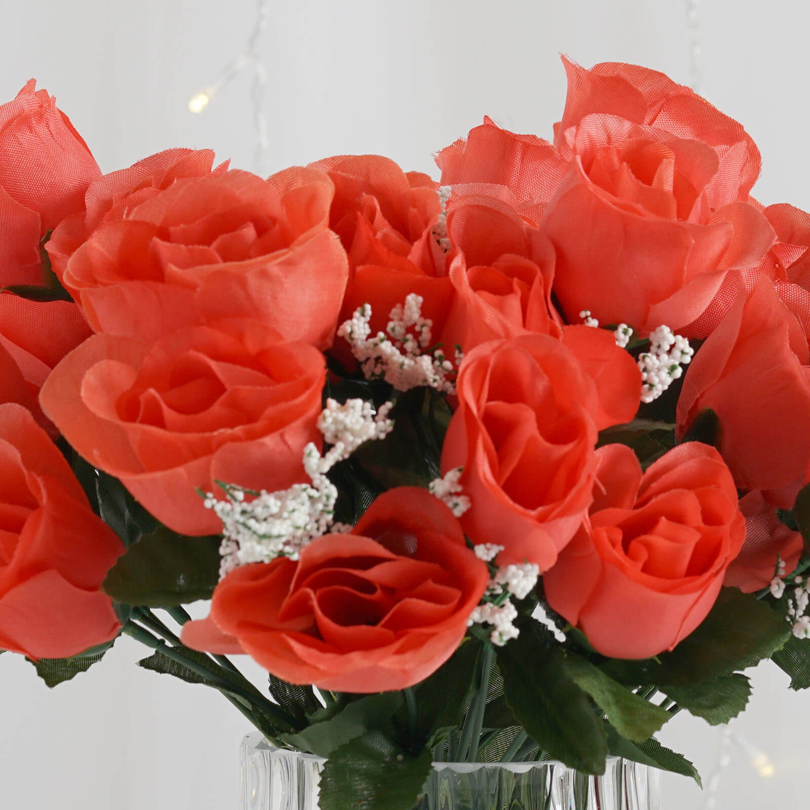 Coral 12 Bushes With 84 Artificial Rose Flower Buds Wedding