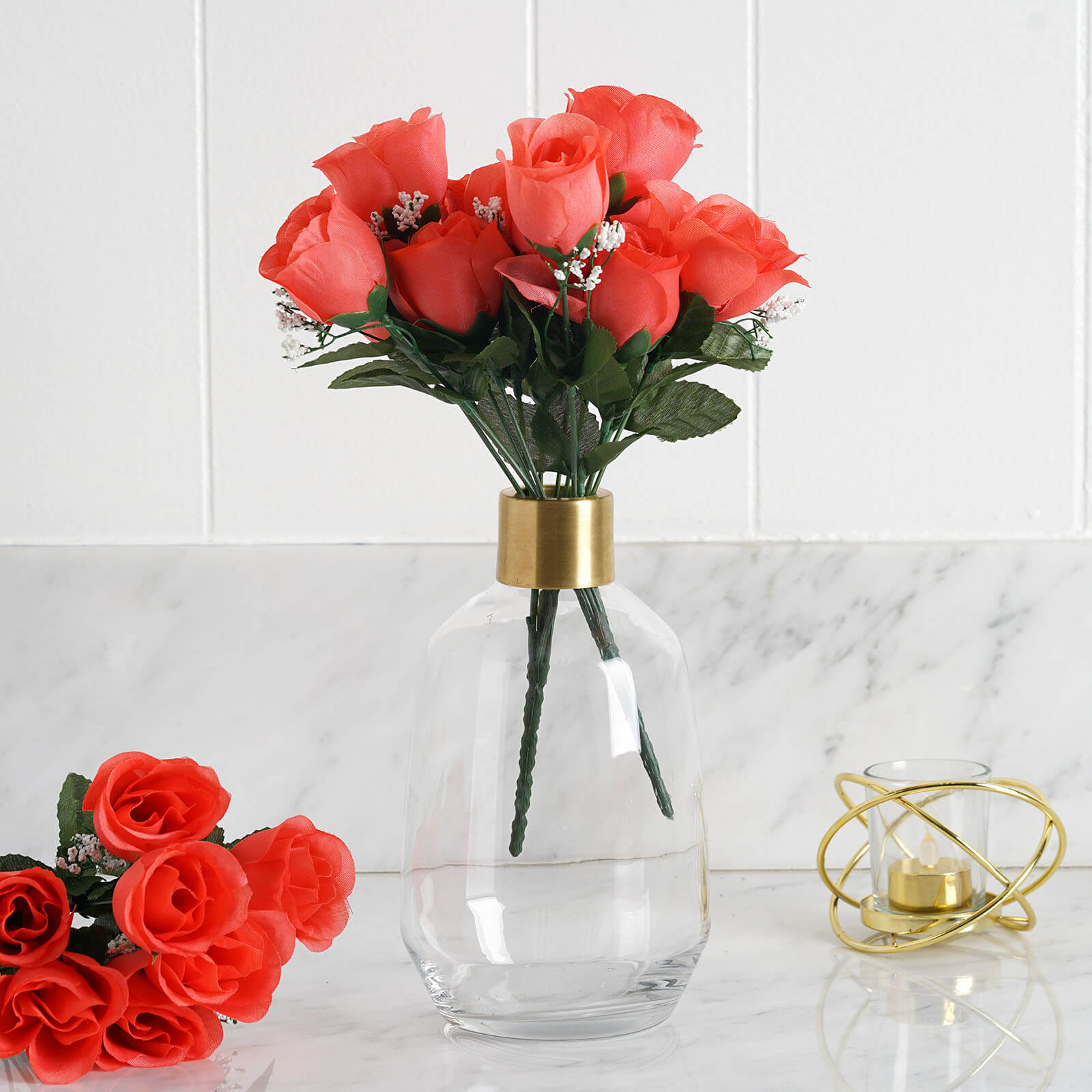 84 artificial silk rose buds coral efavormart silk rose buds coral 84pk mightylinksfo Image collections
