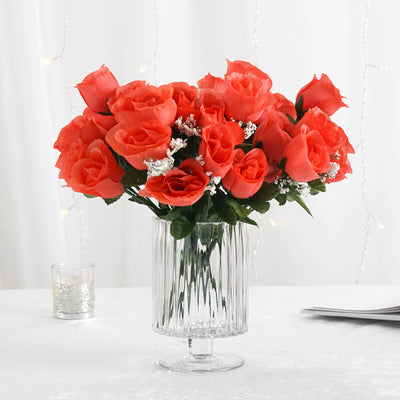 12 Bush 84 Pcs Coral Artificial Silk Rose Bud Flowers