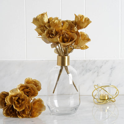 Gold 12 bushes with 84 artificial rose flower buds wedding 84 artificial silk rose buds gold mightylinksfo