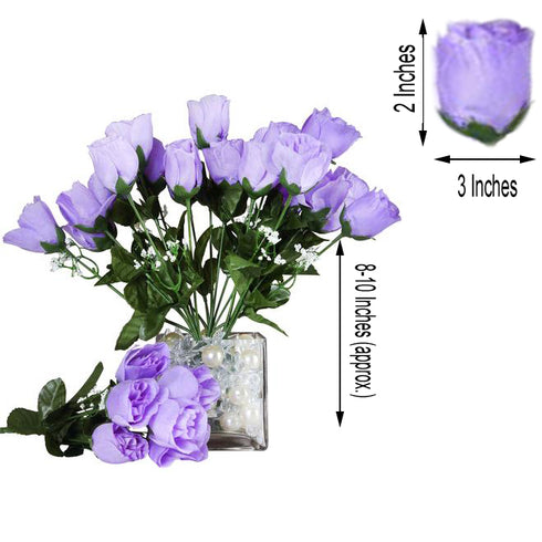 12 Bush Lavender 84 Rose Buds Real Touch Artificial Silk Flowers