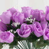 12 Bush 84 Pcs Lavender Artificial Silk Rose Bud Flowers