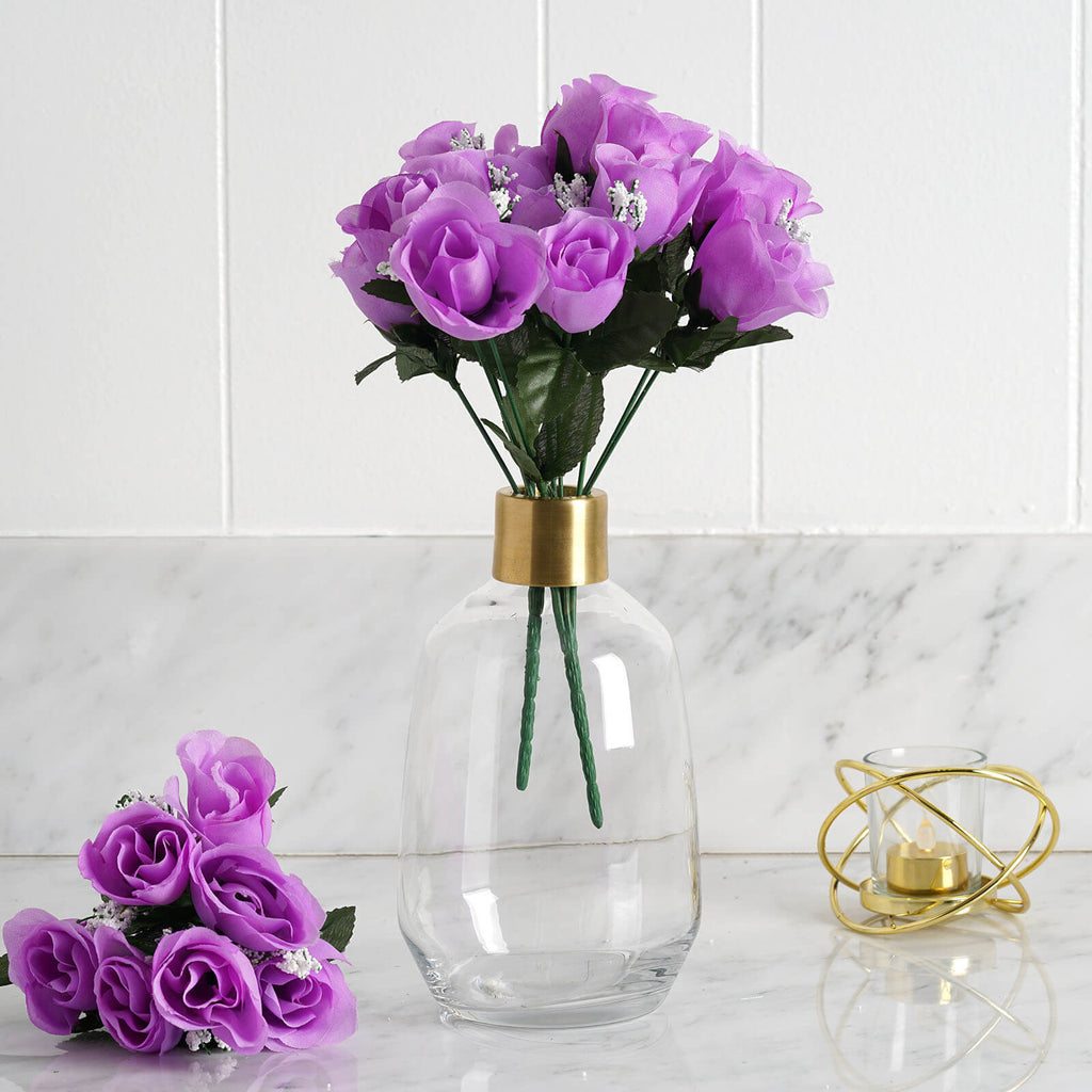 84 Artificial Silk Rose Buds Wedding Flower Bouquet Centerpiece Decor - Lavender