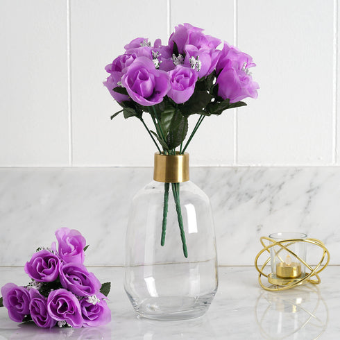 84 Artificial Silk Rose Buds - Lavender