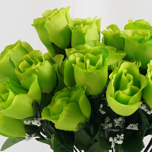 12 Bush Lime 84 Rose Buds Real Touch Artificial Silk Flowers