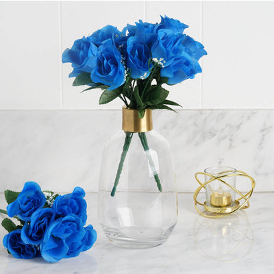Sky Blue 12 Bushes with 84 Artificial Rose Flower Buds Wedding ...