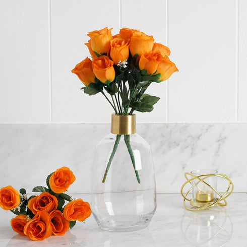 12 Bush Orange 84 Rose Buds Real Touch Artificial Silk Flowers