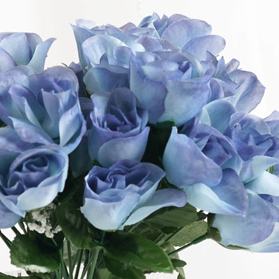 12 Bush Serenity Blue 84 Rose Buds Real Touch Artificial Silk Flowers