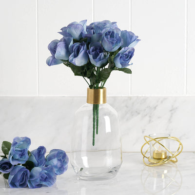 84 Artificial Silk Rose Buds - Serenity Blue