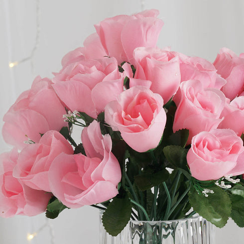 12 Bush Pink 84 Rose Buds Real Touch Artificial Silk Flowers