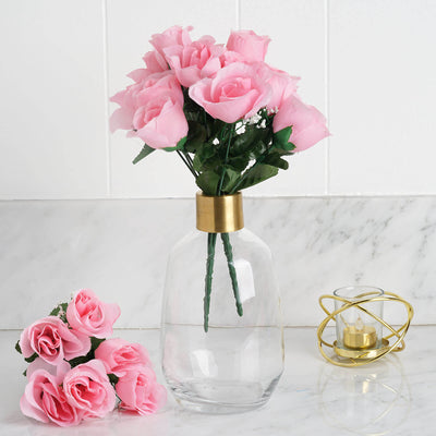 Pink 12 bushes with 84 artificial rose flower buds wedding silk rose buds pink 84pk mightylinksfo