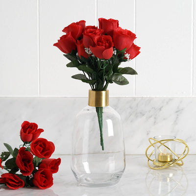 Red 12 bushes with 84 artificial rose flower buds wedding decoration 84 artificial silk rose buds red mightylinksfo