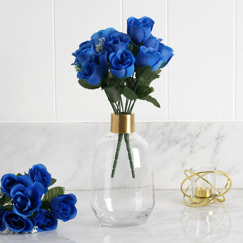 12 Bush Royal Blue 84 Rose Buds Real Touch Artificial Silk Flowers
