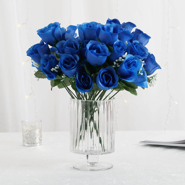 12 Bush Royal Blue 84 Rose Buds Real Touch Artificial Silk